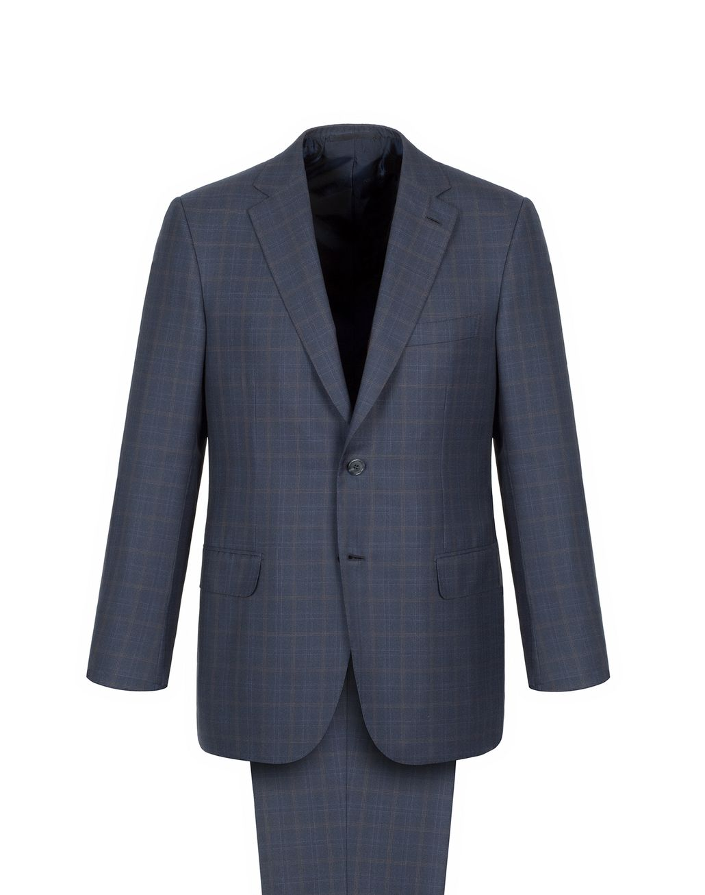 BRIONI Navy Blue Subtle Check Brunico Suit Suits & Jackets Man f