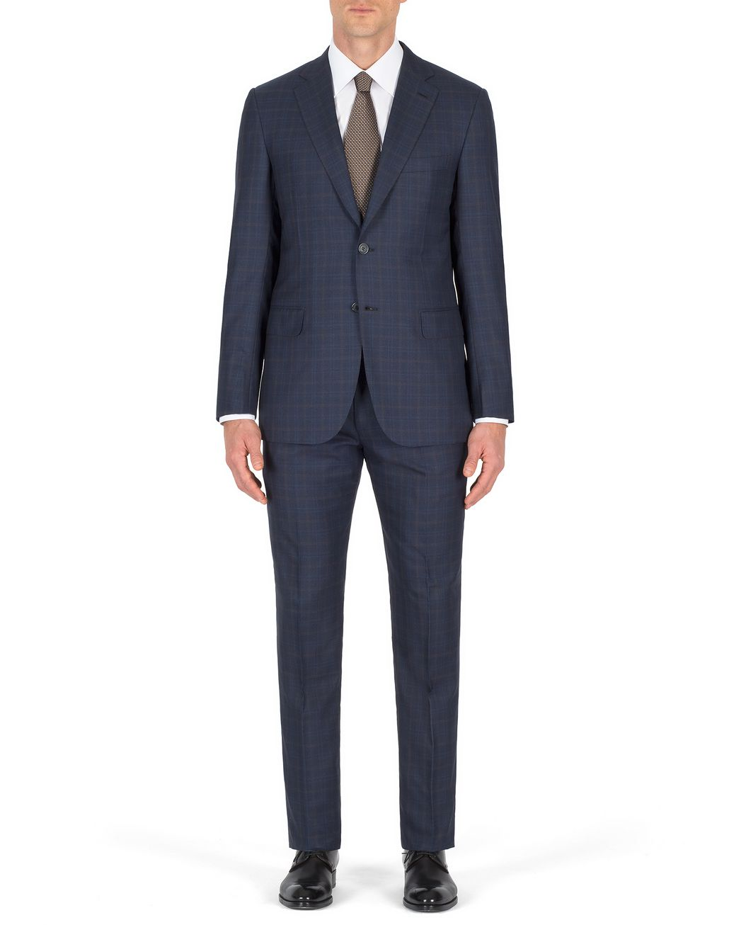 BRIONI Navy Blue Subtle Check Brunico Suit Suits & Jackets Man r