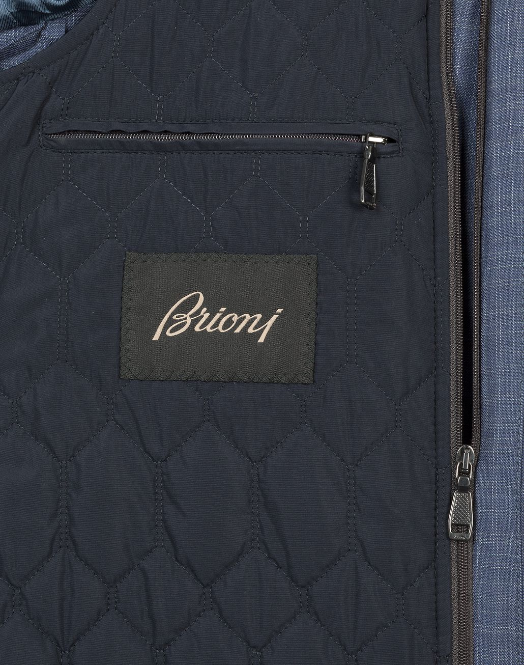 BRIONI Navy Blue Check Trans Seasonal Field Jacket Outerwear U a