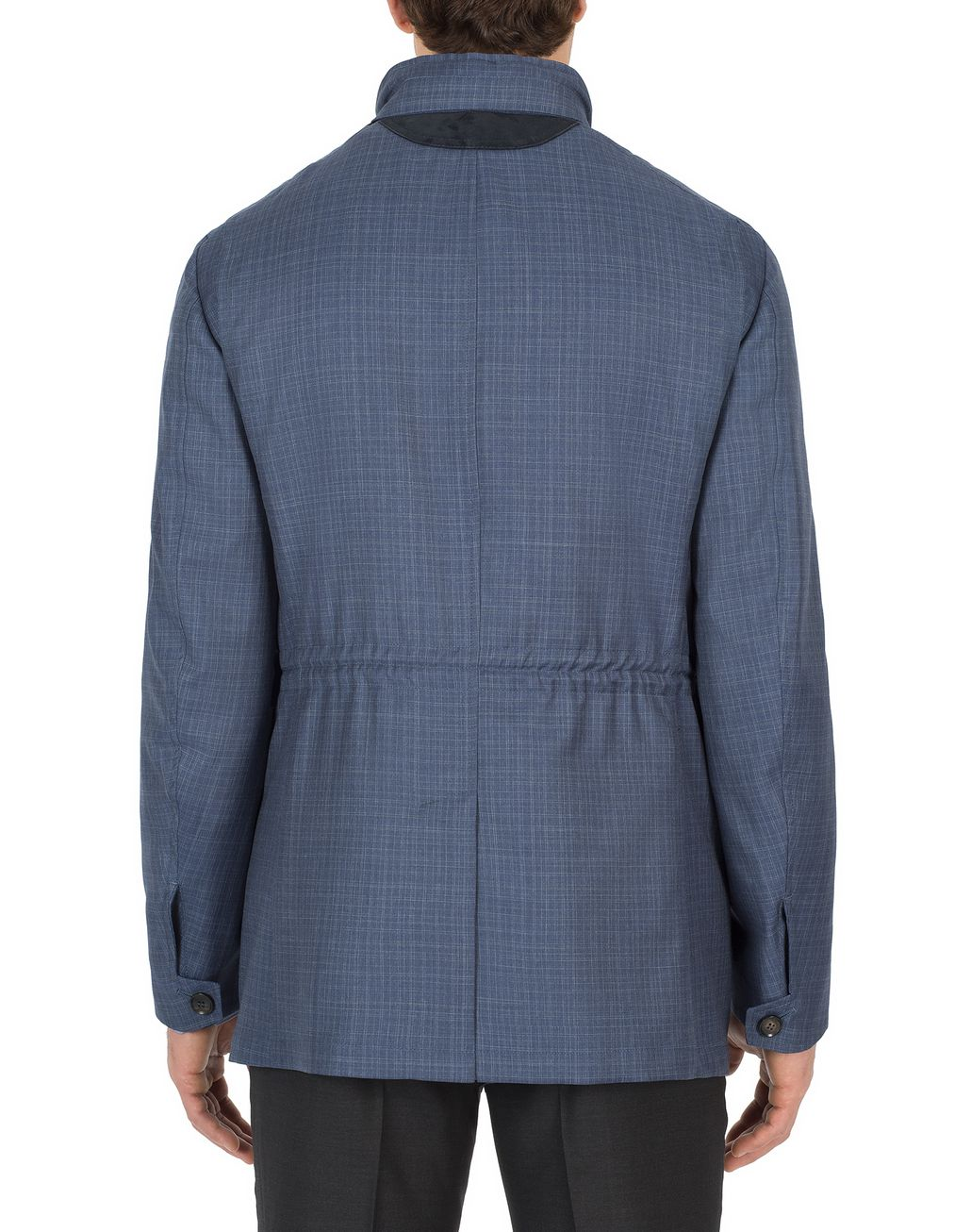 BRIONI Navy-Blue Check Trans-Seasonal Field Jacket Outerwear Man d