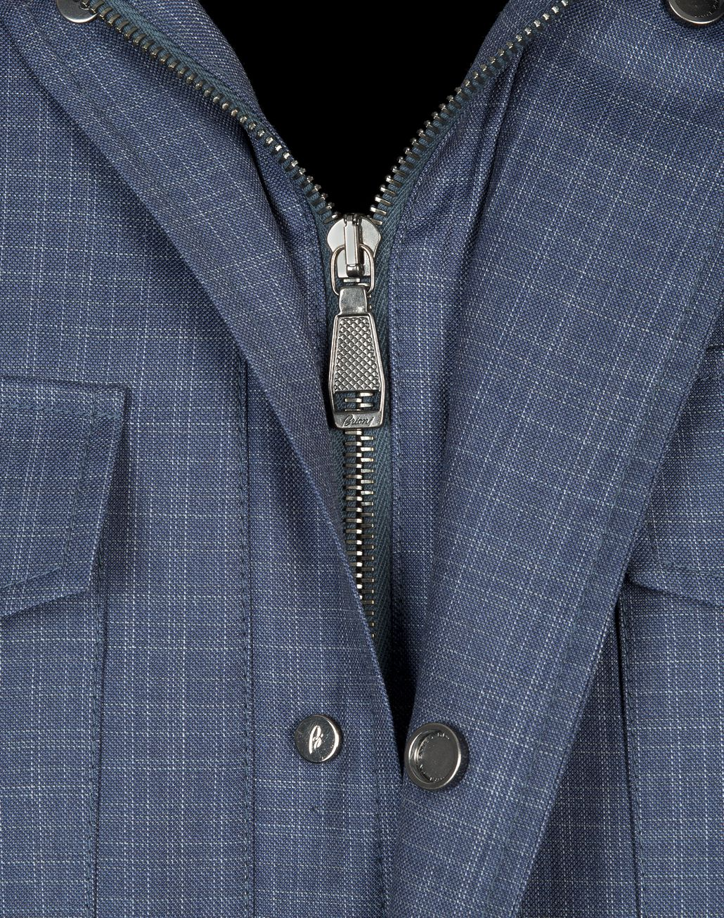 BRIONI Navy-Blue Check Trans-Seasonal Field Jacket Outerwear U e