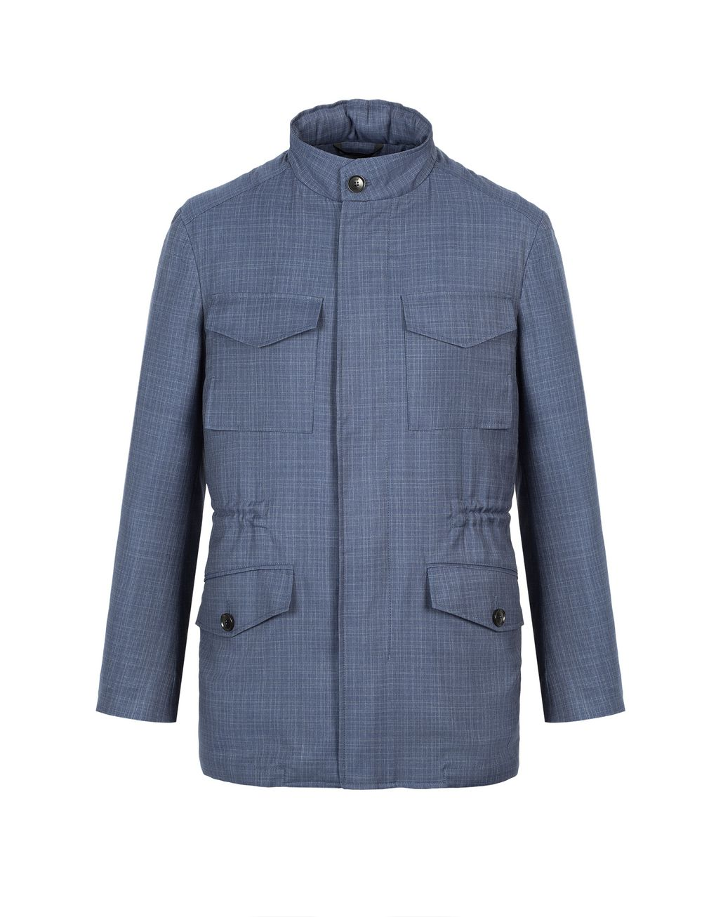 BRIONI Navy-Blue Check Trans-Seasonal Field Jacket Outerwear Man f