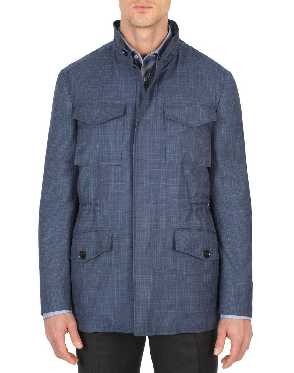 BRIONI Navy-Blue Check Trans-Seasonal Field Jacket Outerwear U r