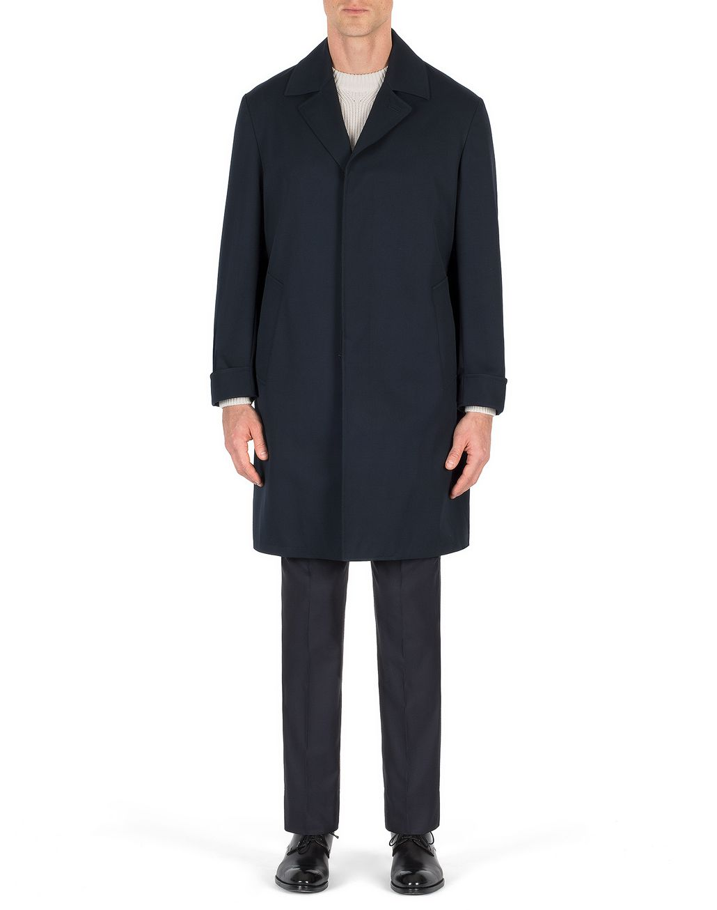 BRIONI Navy Blue Heritage Coat Outerwear Man r
