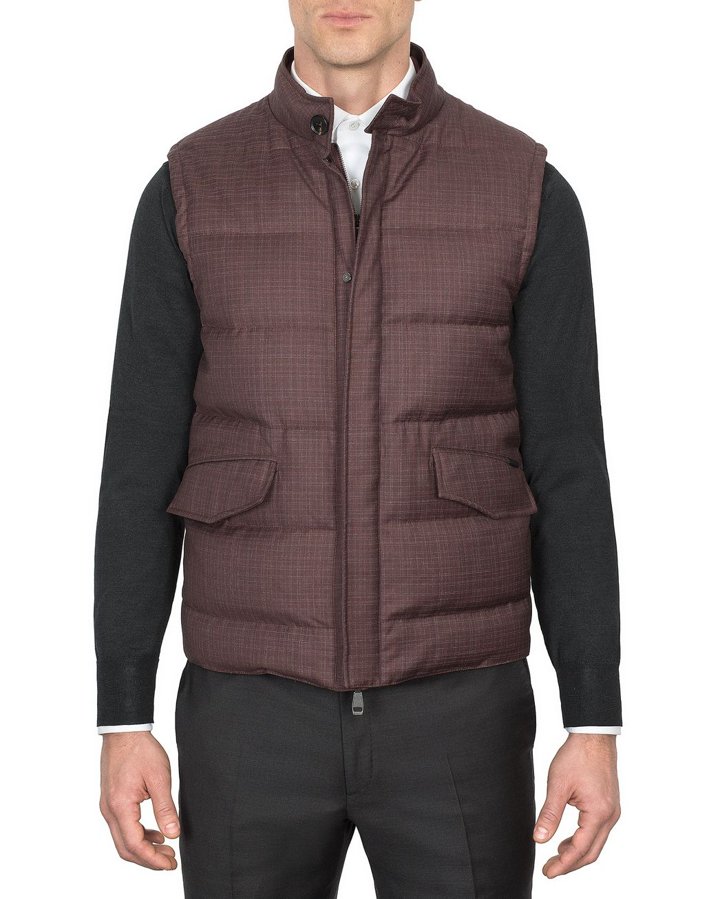 BRIONI Bordeaux Light Weight Vest Outerwear Man r