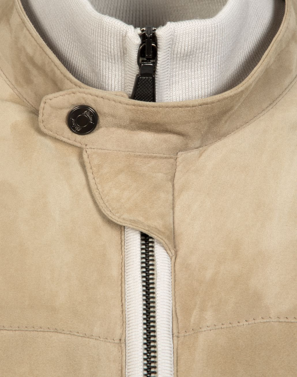 BRIONI Beige Knitted and Suede Bomber Outerwear U e