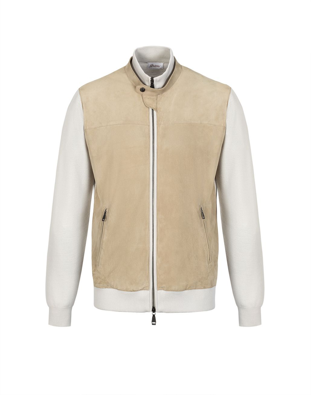 BRIONI Beige Knit and Suede Bomber Outerwear U f