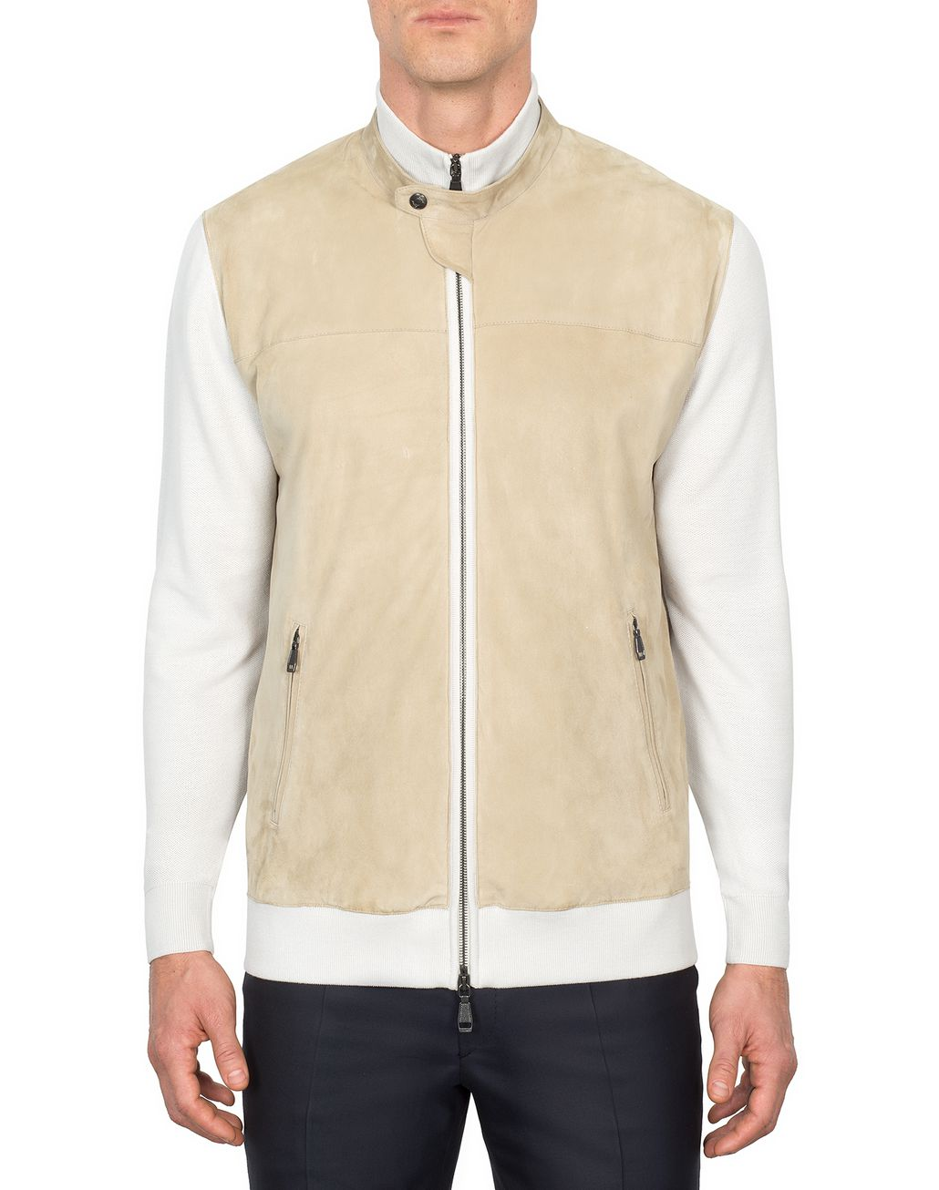 BRIONI Beige Knit and Suede Bomber Outerwear [*** pickupInStoreShippingNotGuaranteed_info ***] r
