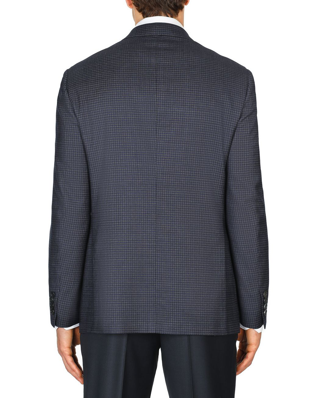 BRIONI Blue and Grey Micro-Check Ventiquattro Ravello Jacket Suits & Jackets Man d