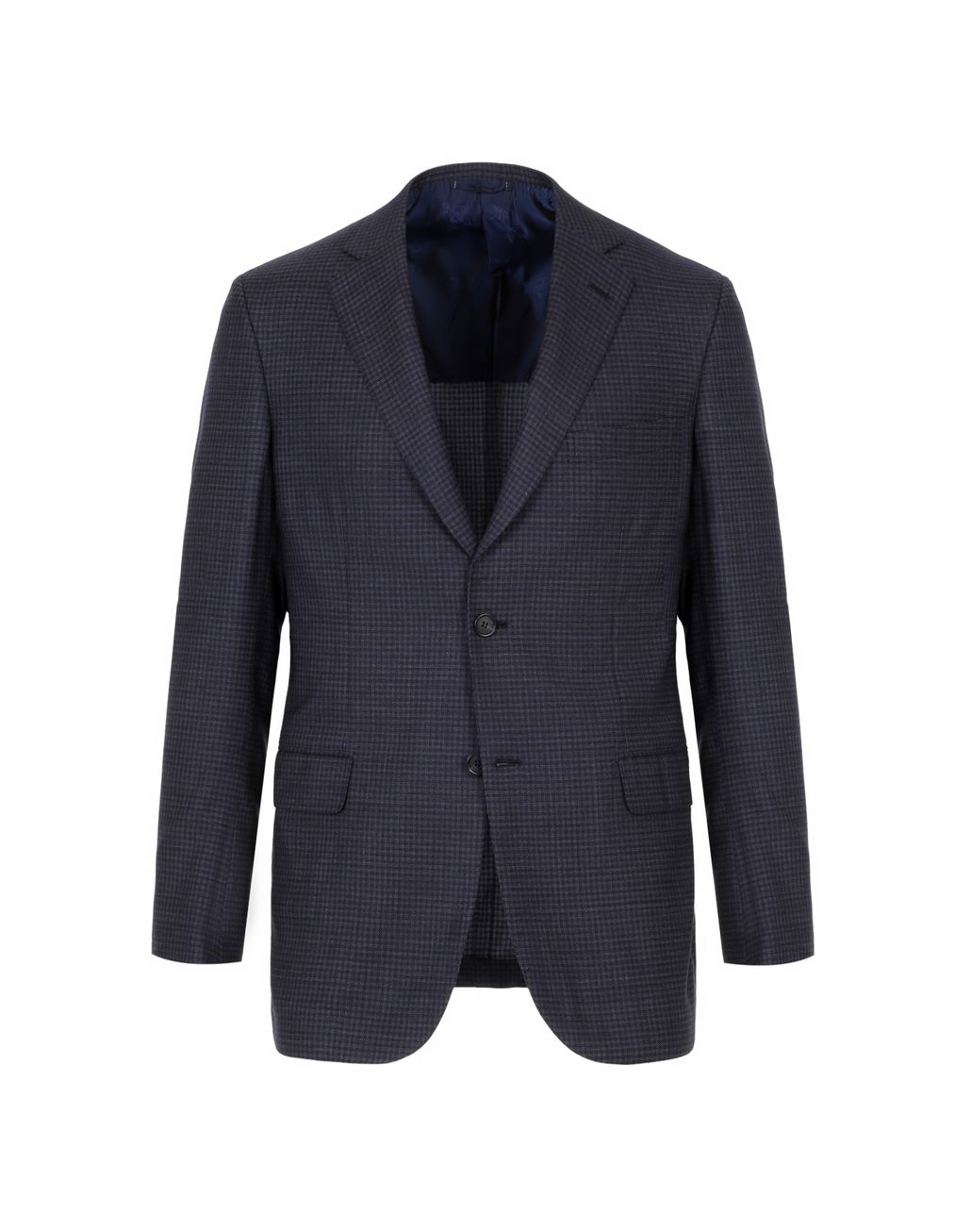 BRIONI Blue and Grey Micro-Check Ventiquattro Ravello Jacket Suits & Jackets Man f