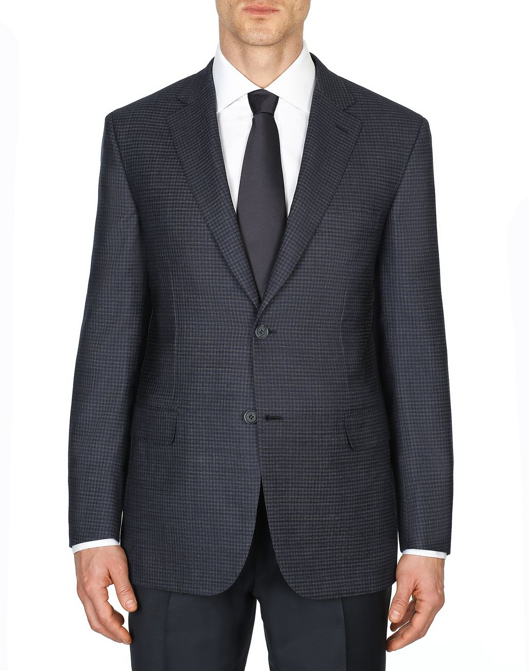 BRIONI Blue and Grey Micro-Check Ventiquattro Ravello Jacket Suits & Jackets Man r