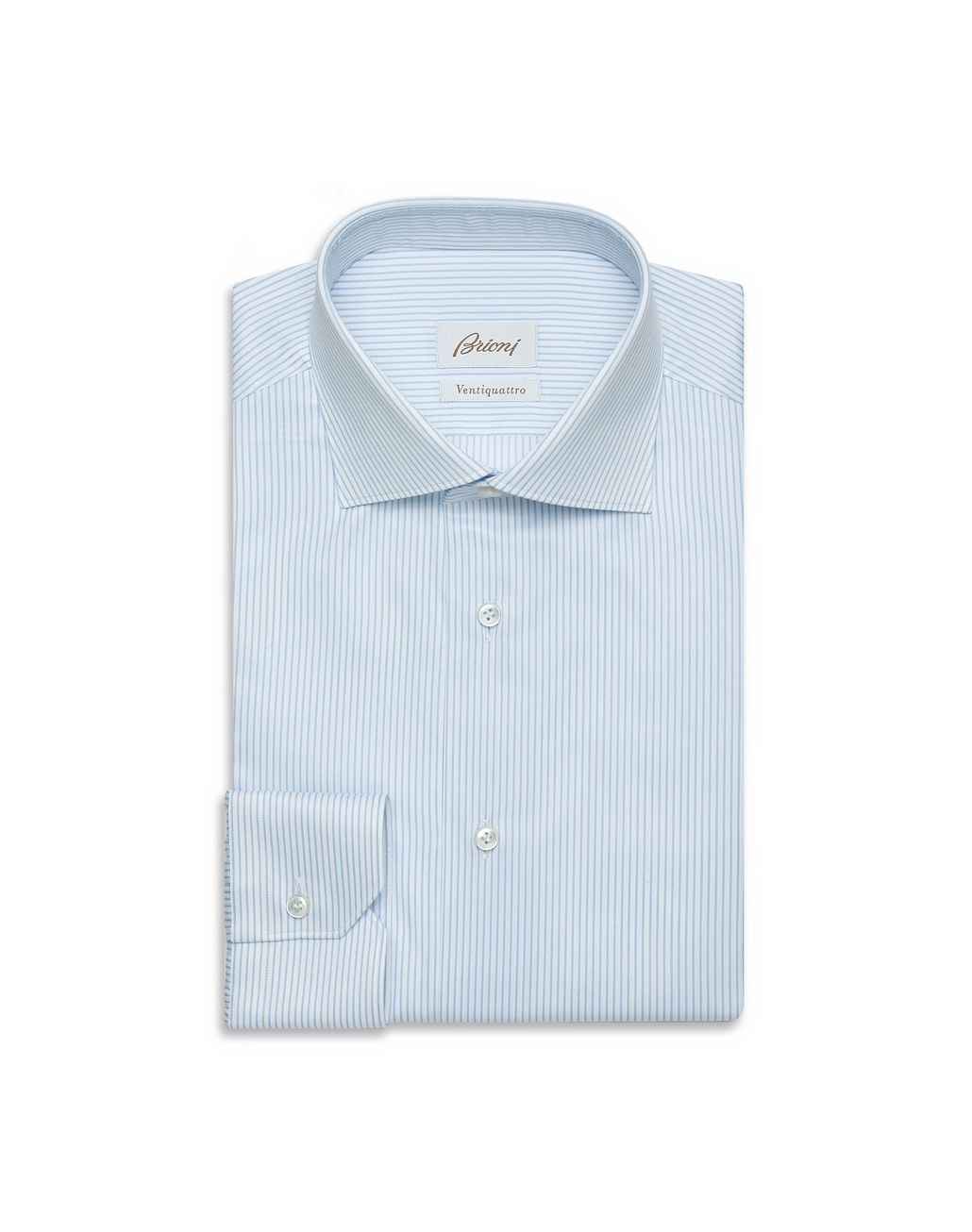 BRIONI Sky-Blue and White Striped Formal Shirt  Formal shirt Man f