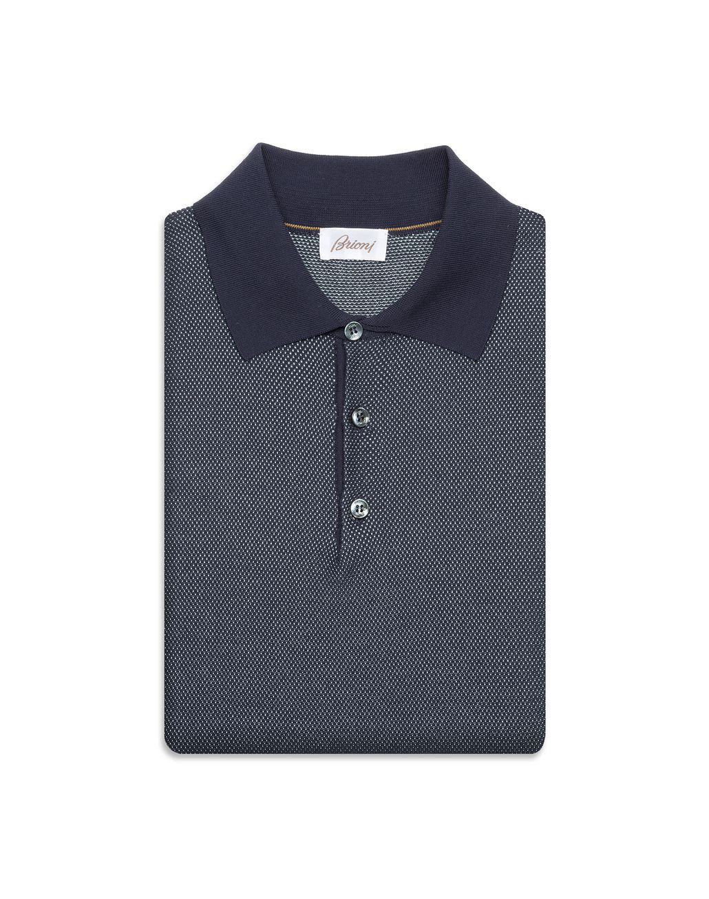 BRIONI Navy Blue Cotton and Silk Piquet Polo Shirt T-Shirts & Polos Man e