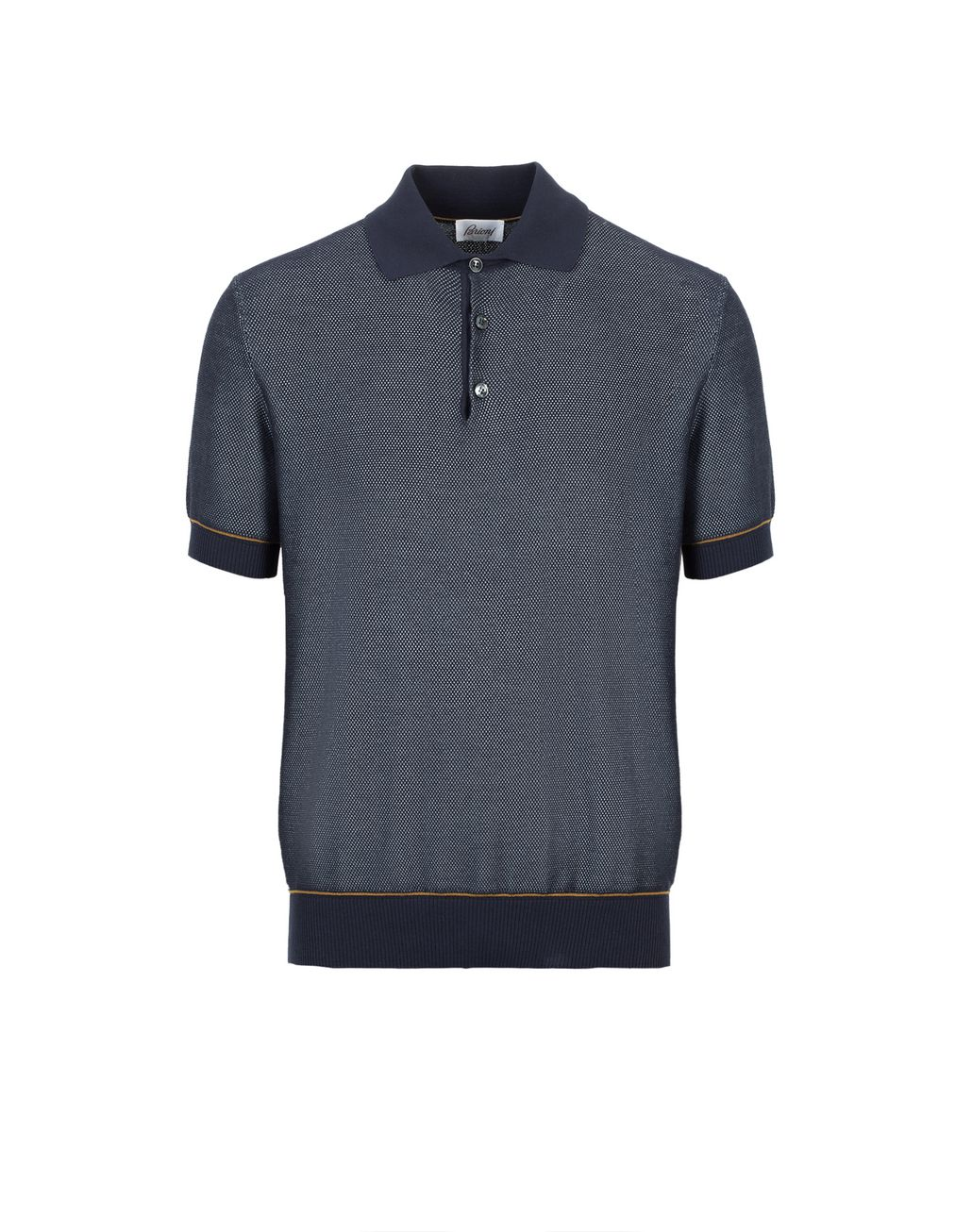 BRIONI Navy Blue Cotton and Silk Piquet Polo Shirt T-Shirts & Polos [*** pickupInStoreShippingNotGuaranteed_info ***] f