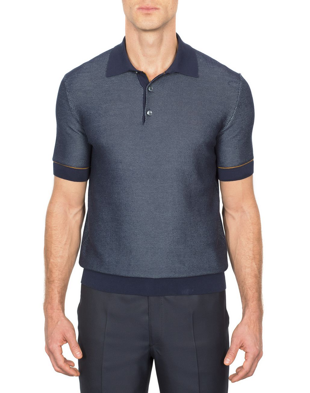 BRIONI Navy Blue Cotton and Silk Piquet Polo Shirt T-Shirts & Polos [*** pickupInStoreShippingNotGuaranteed_info ***] r