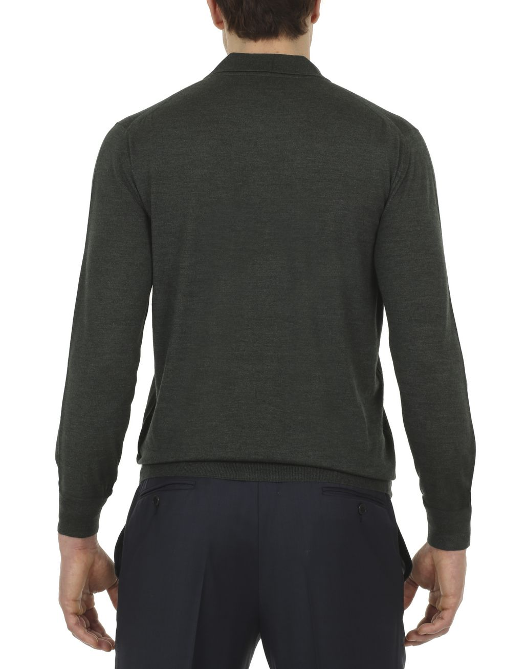 BRIONI Thyme Green Long-Sleeve Polo Shirt T-Shirts & Polos Man d
