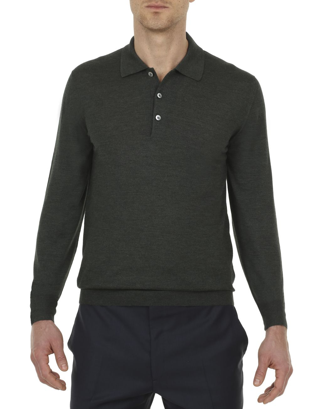 BRIONI Thyme Green Long-Sleeve Polo Shirt T-Shirts & Polos Man r