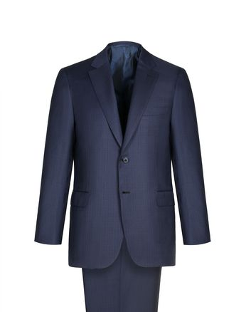 Navy Blue Micro-Check Herringbone Ventiquattro Brunico Suit