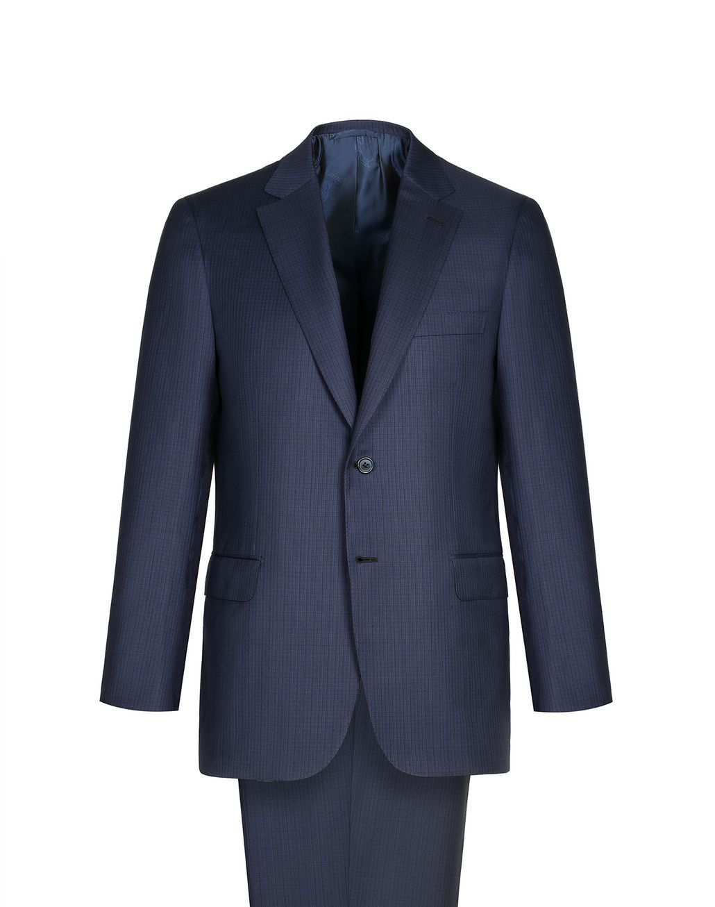BRIONI Navy Blue Micro-Check Herringbone Ventiquattro Brunico Suit Suits & Jackets Man f