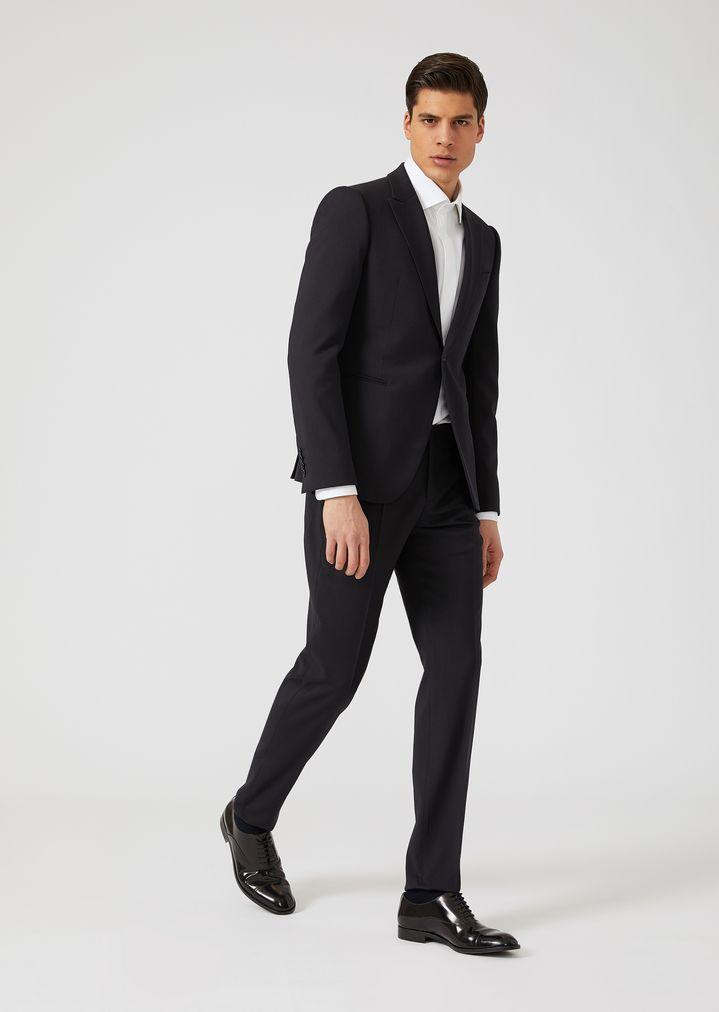 EMPORIO ARMANI Slim fit tropical wool tuxedo Suit Man f ...