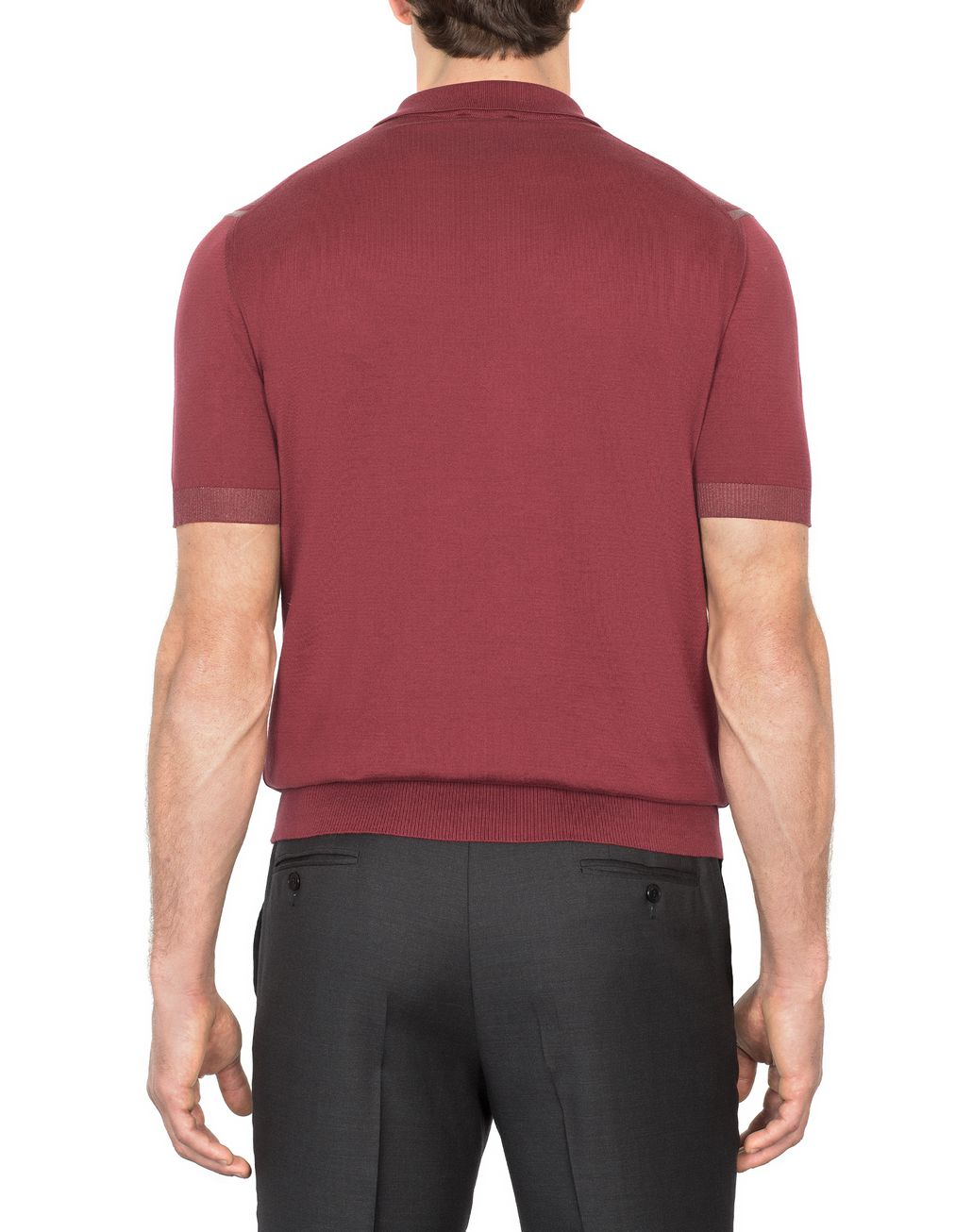 BRIONI Bordeaux Cotton and Silk Striped Polo Shirt with Two-Tone Trim T-Shirts & Polos [*** pickupInStoreShippingNotGuaranteed_info ***] d