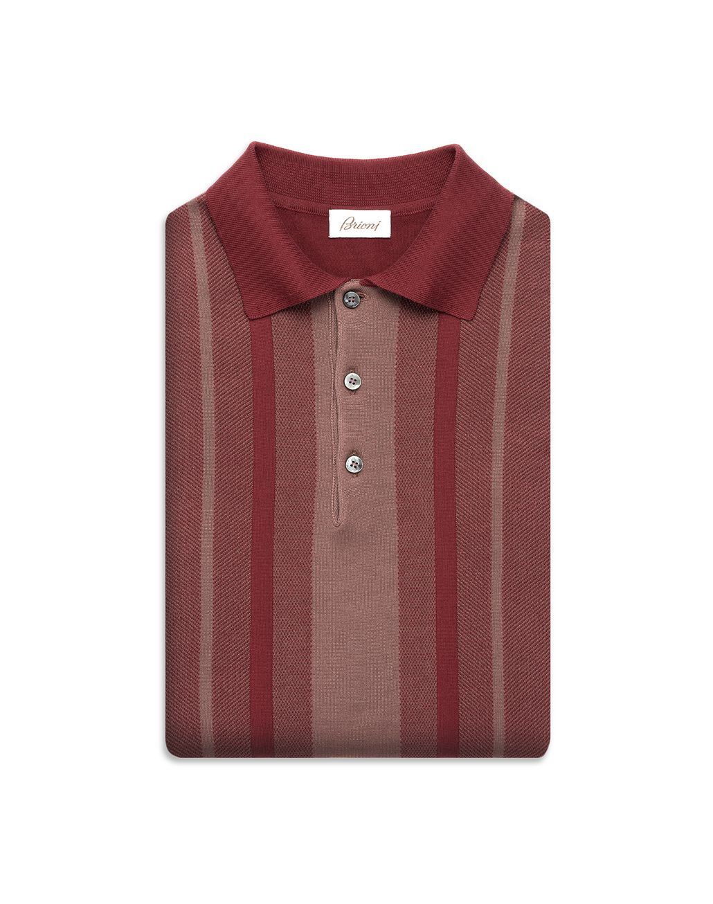 BRIONI Bordeaux Cotton and Silk Striped Polo Shirt with Bicolour Trims T-Shirts & Polos Man e
