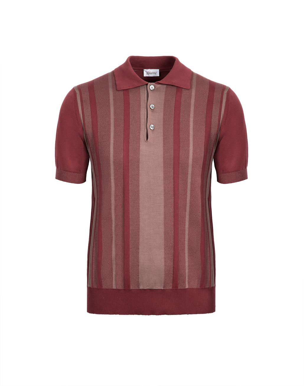BRIONI Bordeaux Cotton and Silk Striped Polo Shirt with Bicolour Trims T-Shirts & Polos Man f