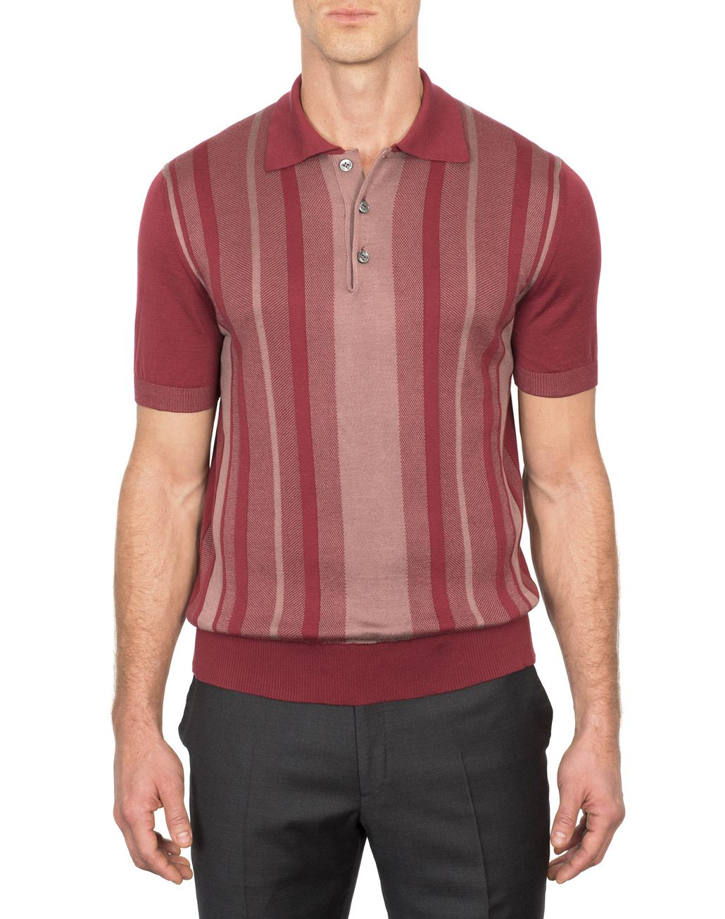 BRIONI Bordeaux Cotton and Silk Striped Polo Shirt with Bicolour Trims T-Shirts & Polos Man r