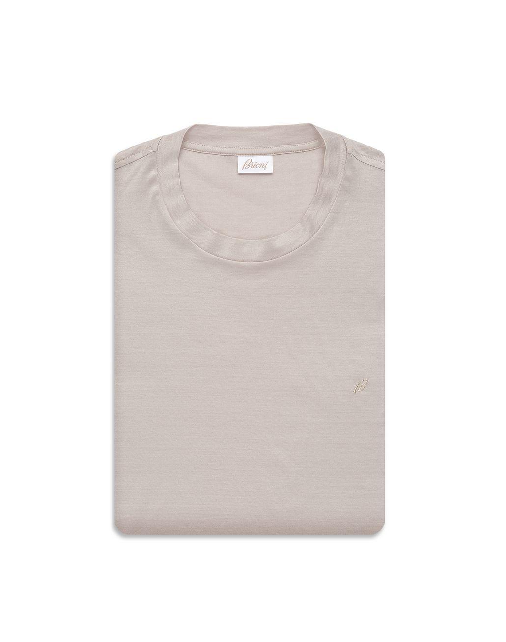 BRIONI Beige Logoed T-Shirt T-Shirts & Polos Man e
