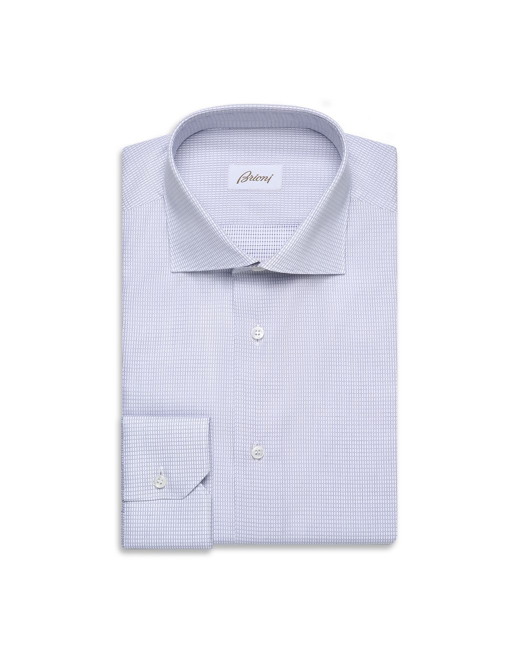 BRIONI Bluette and White Micro-Designed Formal Shirt Formal shirt [*** pickupInStoreShippingNotGuaranteed_info ***] f