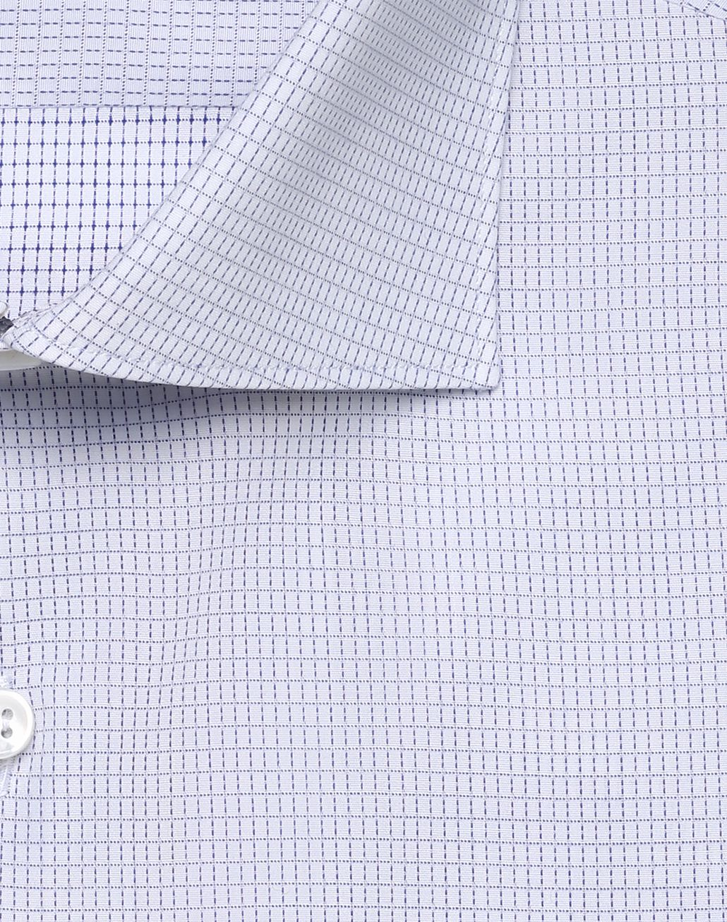 BRIONI Bluette and White Micro-Designed Formal Shirt Formal shirt [*** pickupInStoreShippingNotGuaranteed_info ***] r