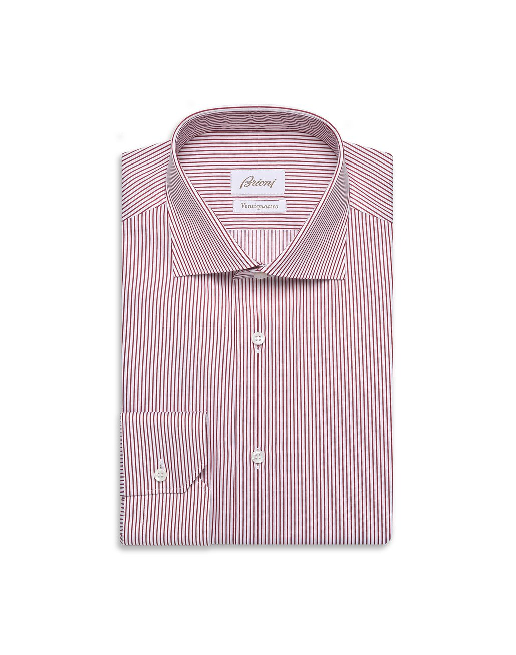 BRIONI Bordeaux and White Striped Formal Shirt  Formal shirt Man f