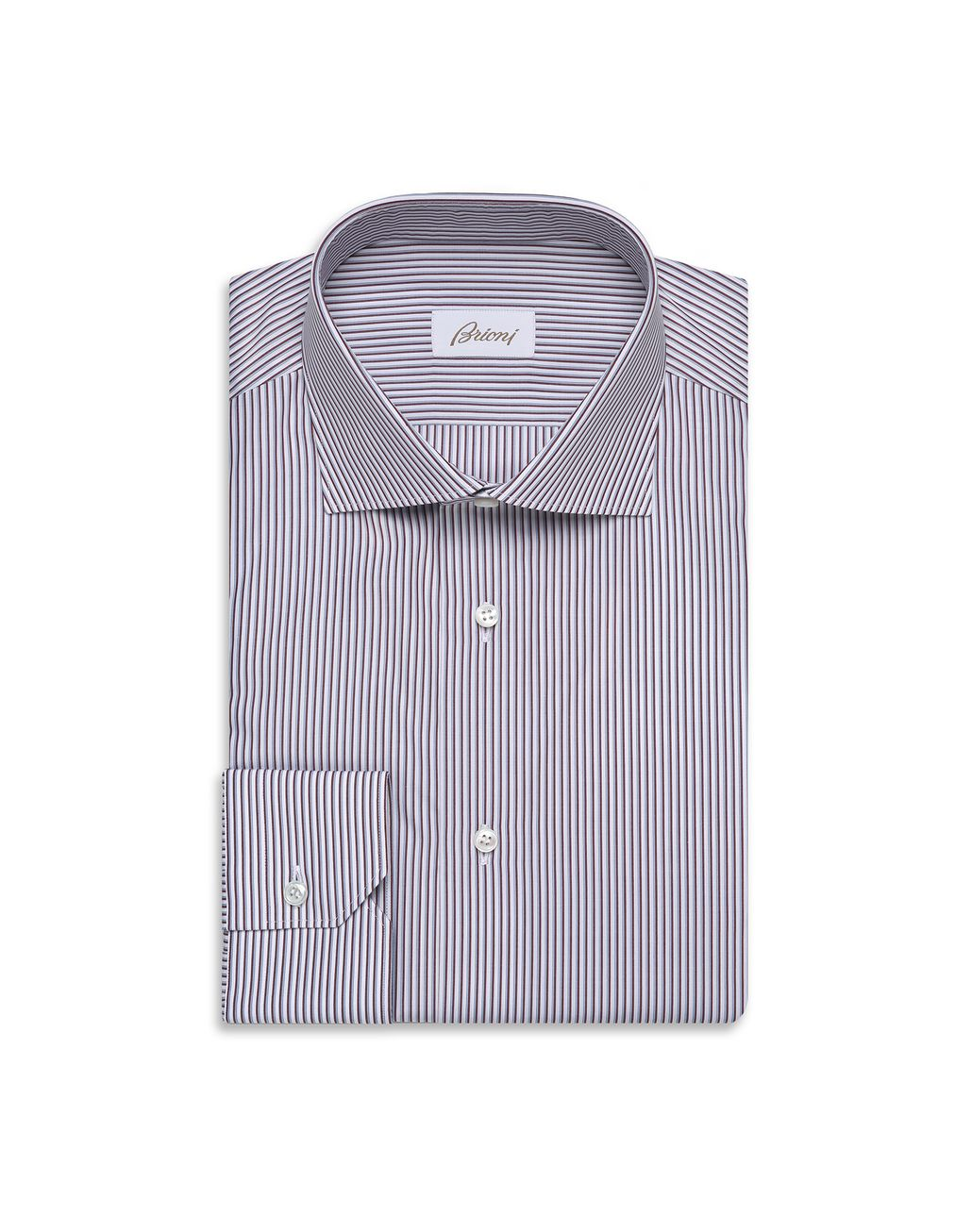 BRIONI Bordeaux and Sky Blue Striped Formal Shirt Formal shirt Man f