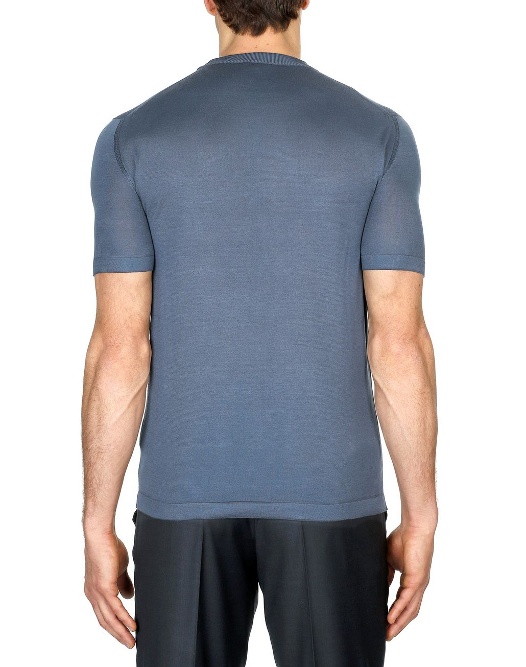 BRIONI Navy-Blue Silk Polo Shirt with Front Details T-Shirts & Polos Man d