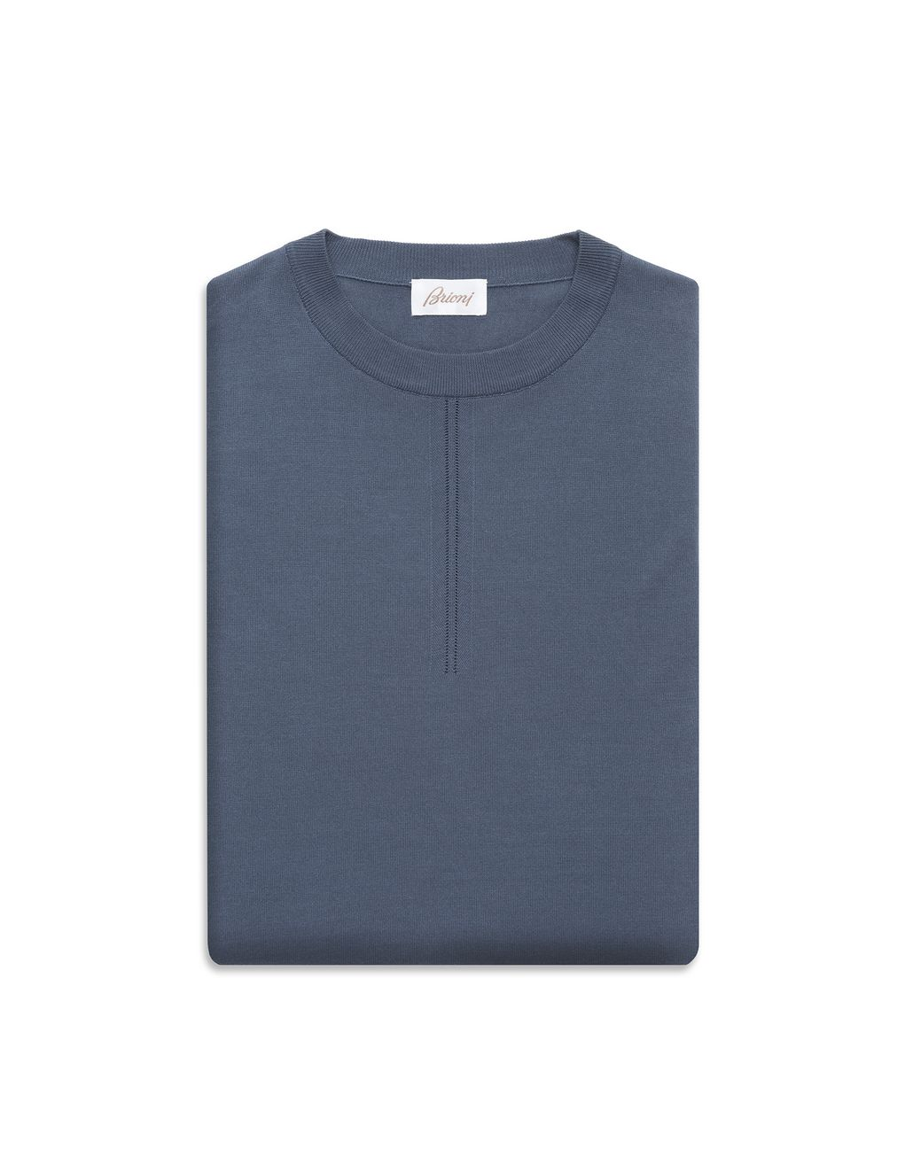 BRIONI Navy-Blue Silk Polo Shirt with Front Details T-Shirts & Polos Man e