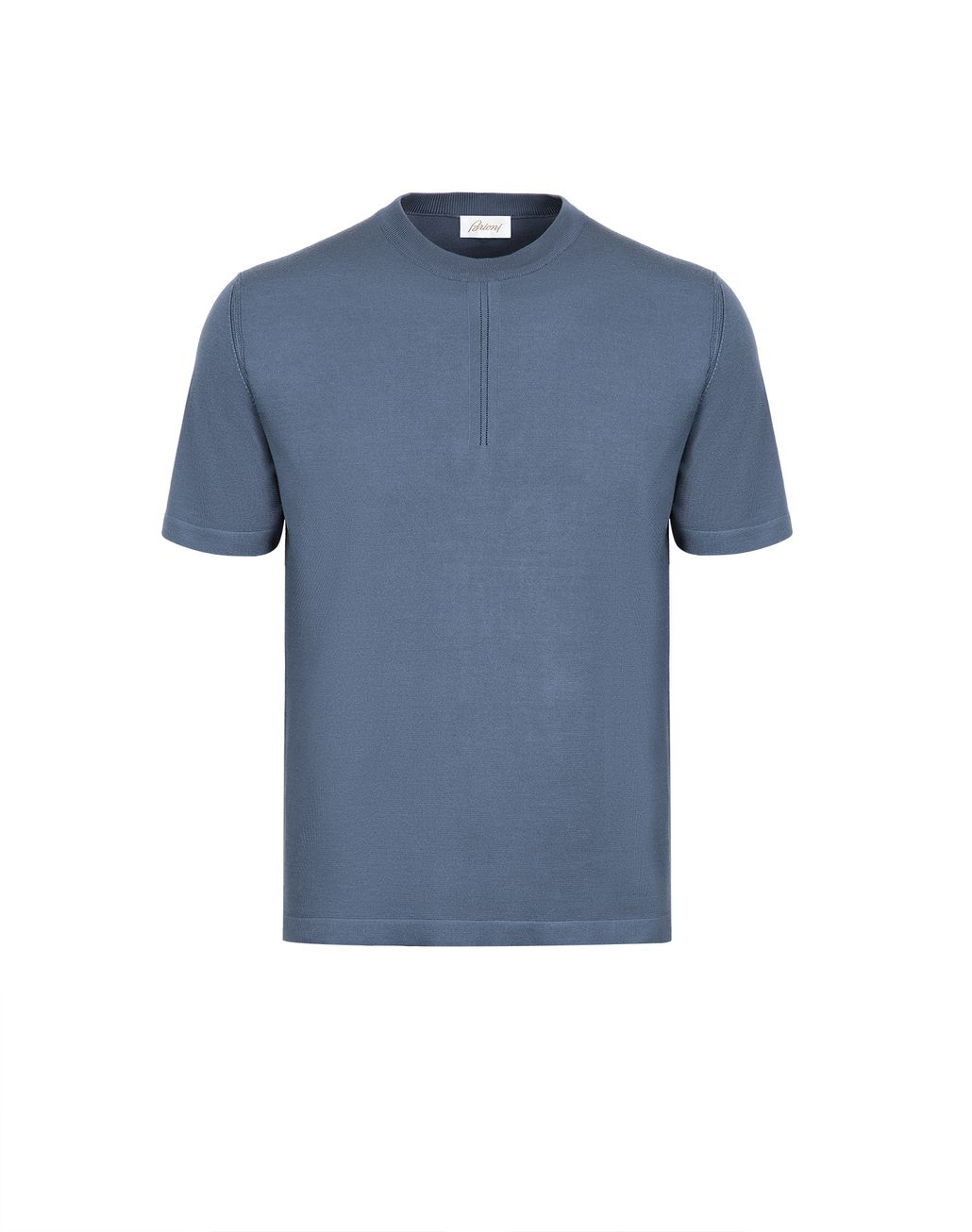 BRIONI Navy-Blue Silk Polo Shirt with Front Details T-Shirts & Polos Man f