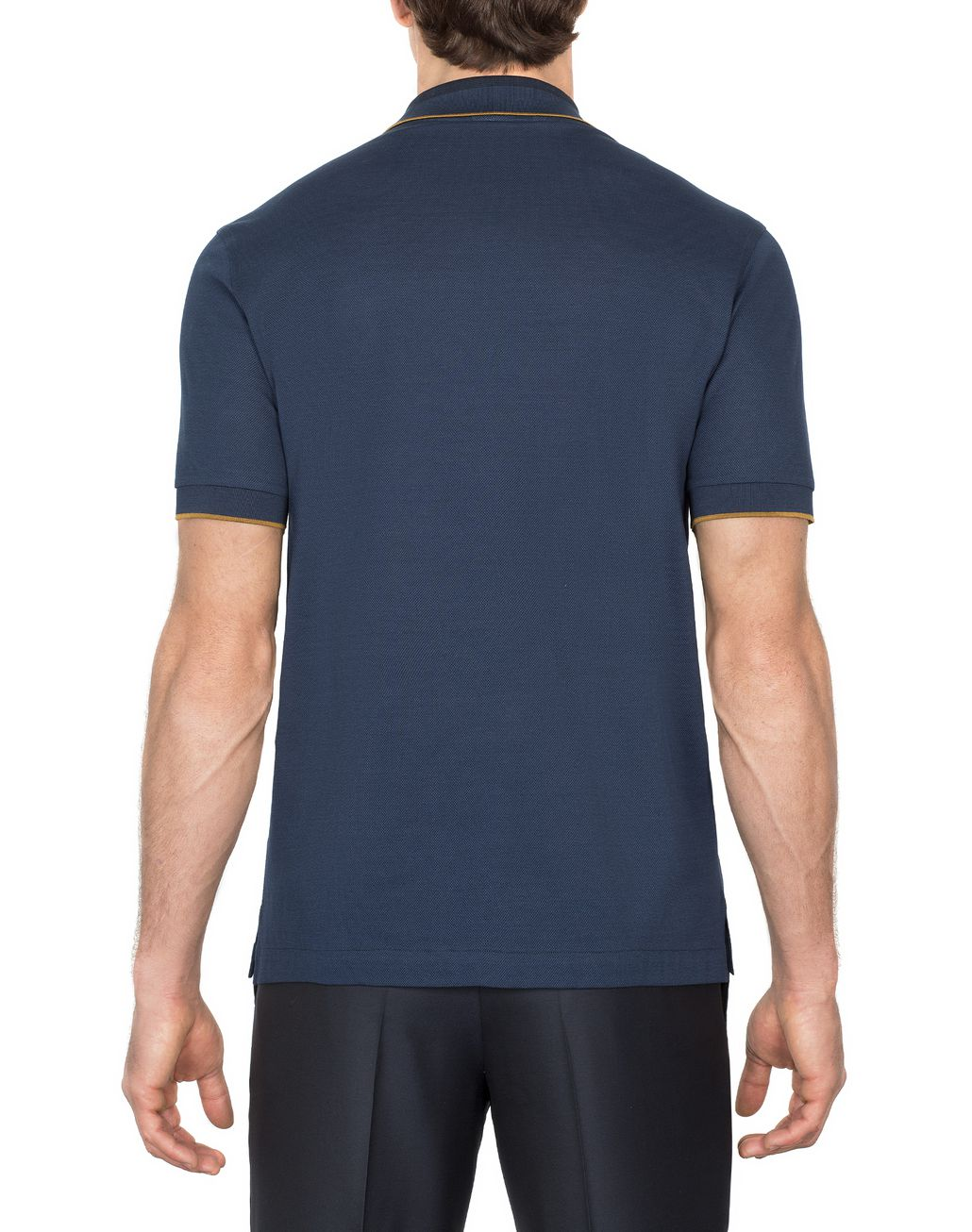 BRIONI Navy Blue Zipped Polo Shirt with Mustard Details T-Shirts & Polos Man d