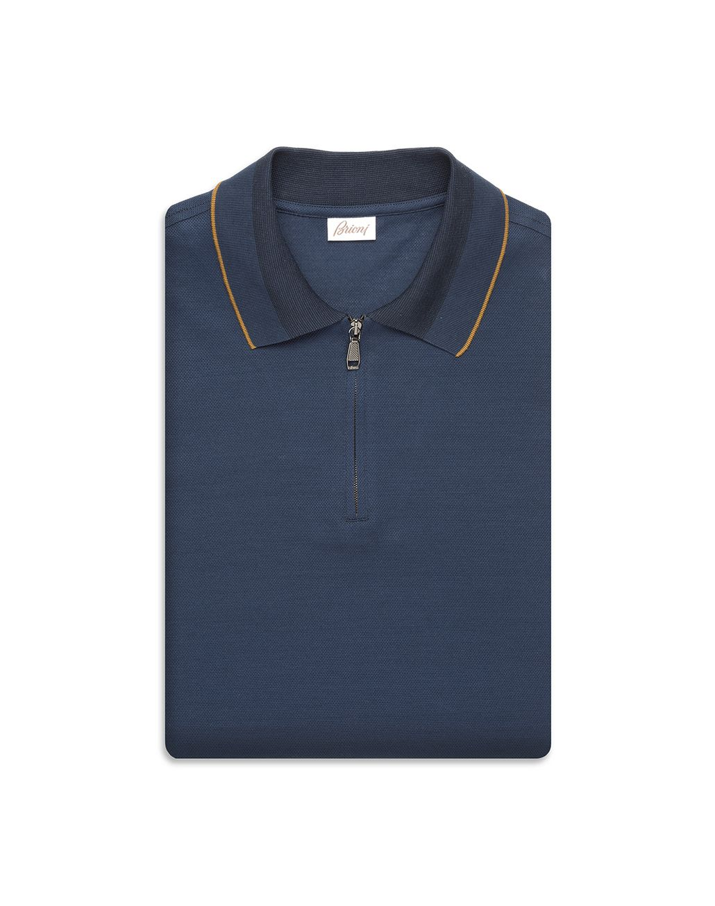 BRIONI Navy-Blue Zippered Polo Shirt with Mustard Details T-Shirts & Polos [*** pickupInStoreShippingNotGuaranteed_info ***] e