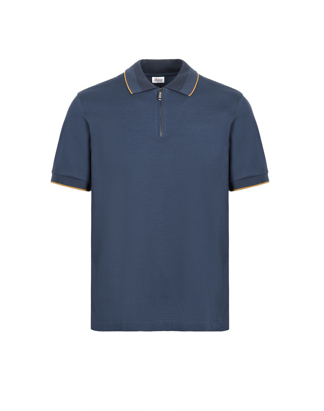 BRIONI Navy Blue Zipped Polo Shirt with Mustard Details T-Shirts & Polos [*** pickupInStoreShippingNotGuaranteed_info ***] f