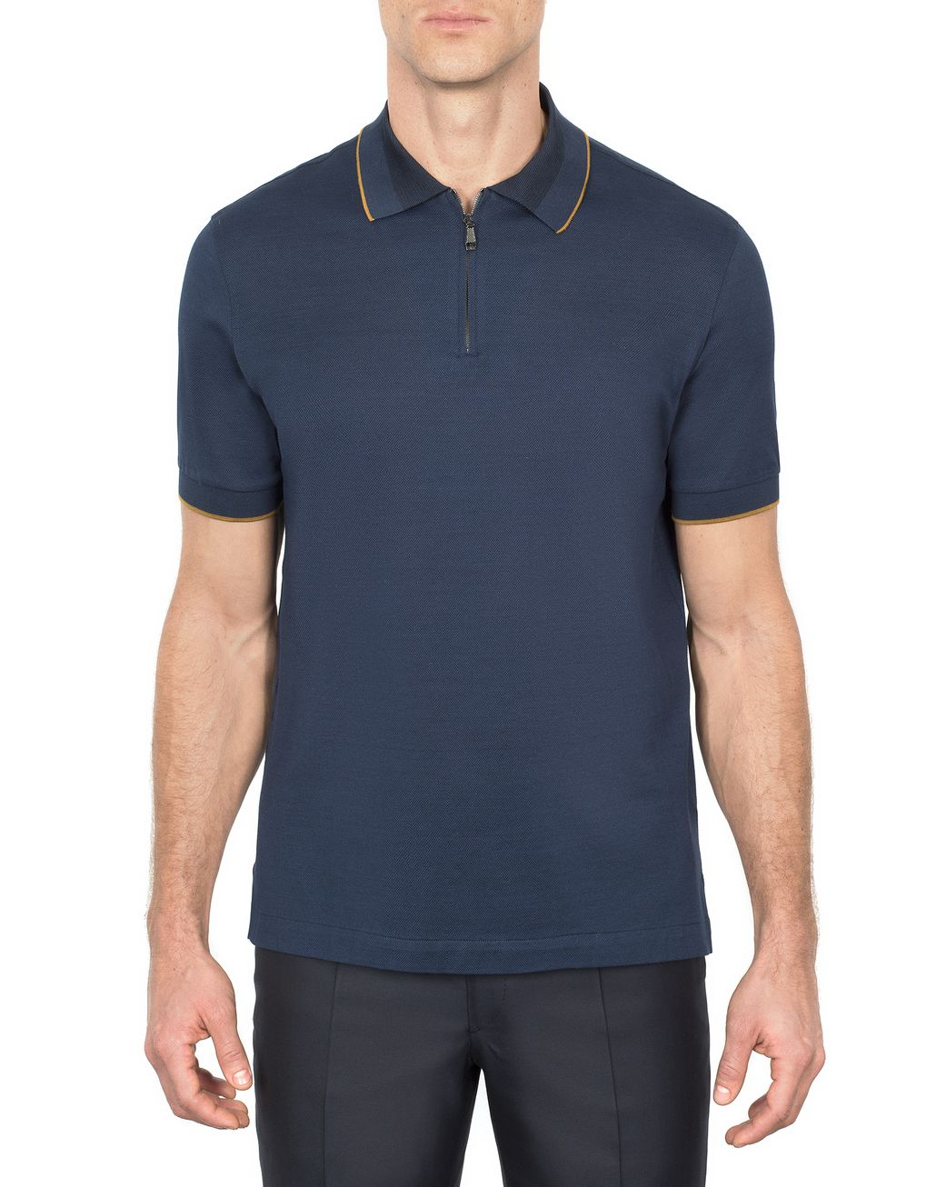 BRIONI Navy Blue Zipped Polo Shirt with Mustard Details T-Shirts & Polos [*** pickupInStoreShippingNotGuaranteed_info ***] r