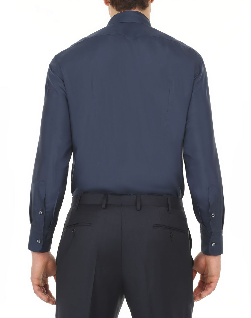 BRIONI Navy Blue Silk Shirt  Leisure shirt [*** pickupInStoreShippingNotGuaranteed_info ***] d