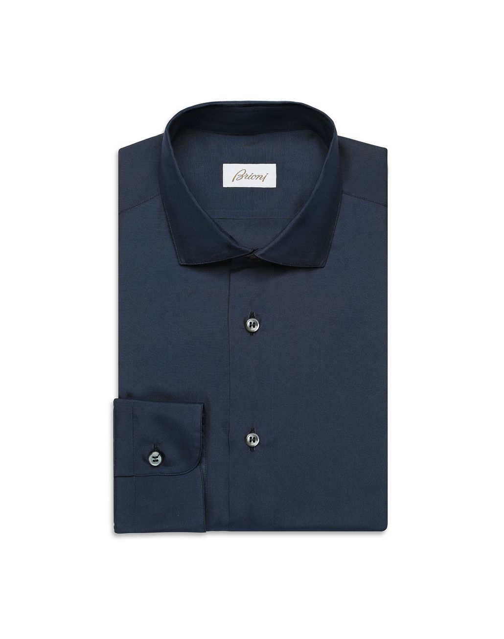 BRIONI Navy-Blue Silk Shirt  Leisure shirt Man f