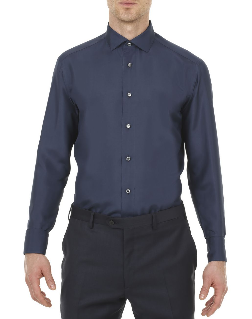 BRIONI Navy-Blue Silk Shirt  Leisure shirt [*** pickupInStoreShippingNotGuaranteed_info ***] r
