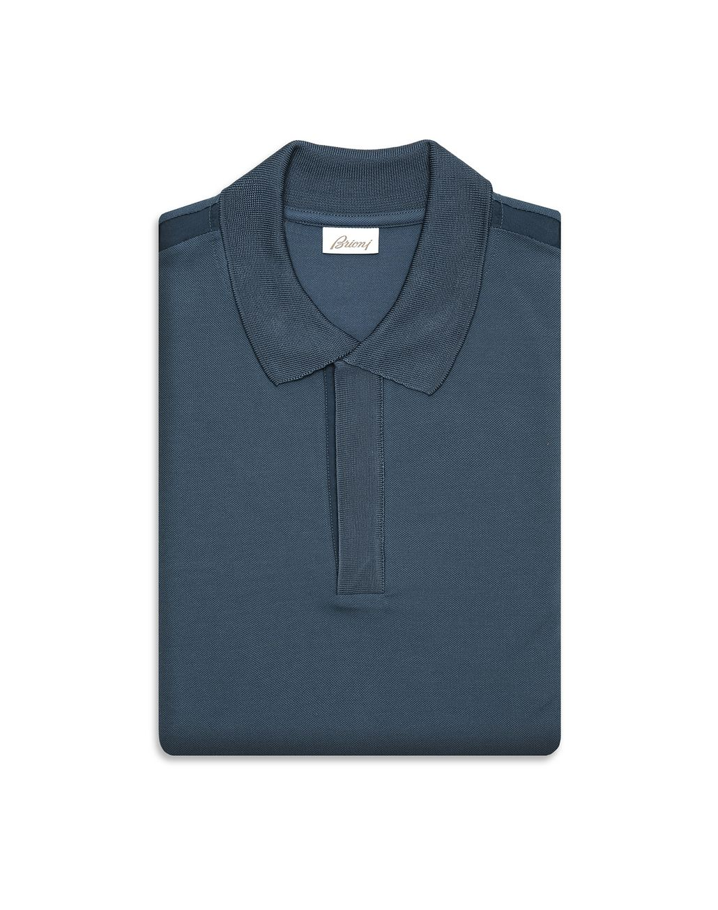 BRIONI Navy Blue Buttonless Piquet Polo Shirt T-Shirts & Polos Man e