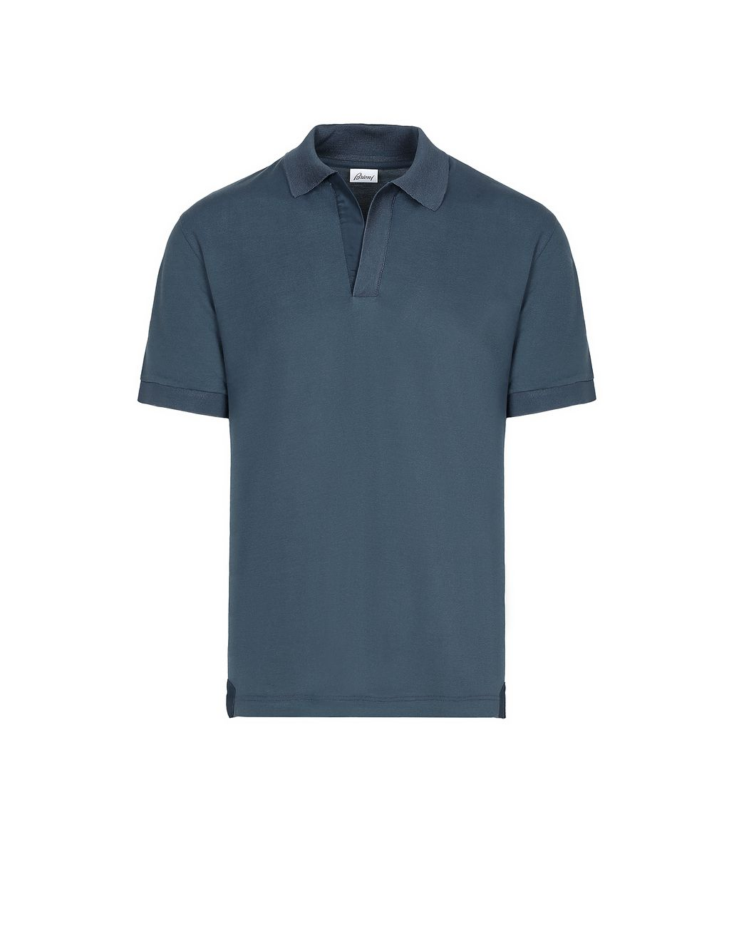 BRIONI Navy Blue Buttonless Piquet Polo Shirt T-Shirts & Polos Man f