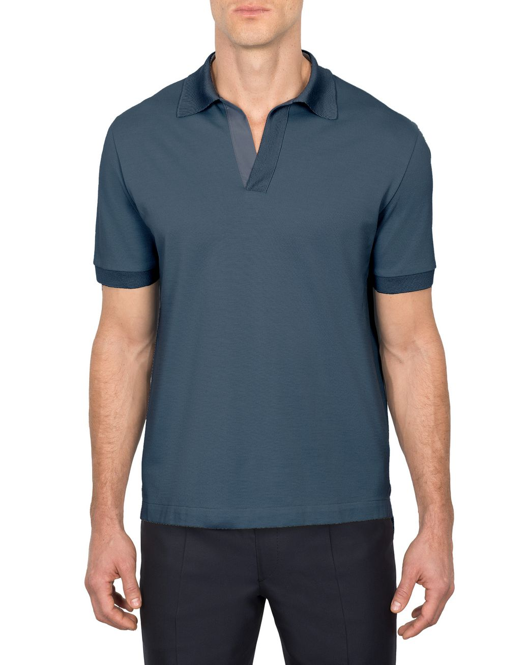 BRIONI Navy Blue Buttonless Piquet Polo Shirt T-Shirts & Polos Man r