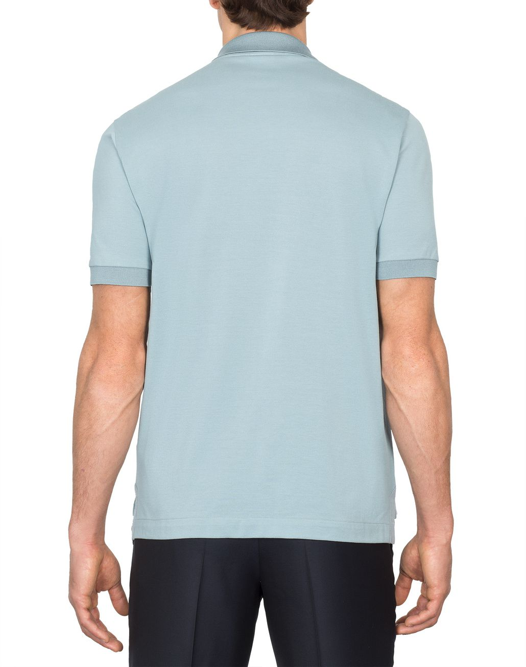 BRIONI Light Blue Buttonless Piquet Polo Shirt T-Shirts & Polos [*** pickupInStoreShippingNotGuaranteed_info ***] d