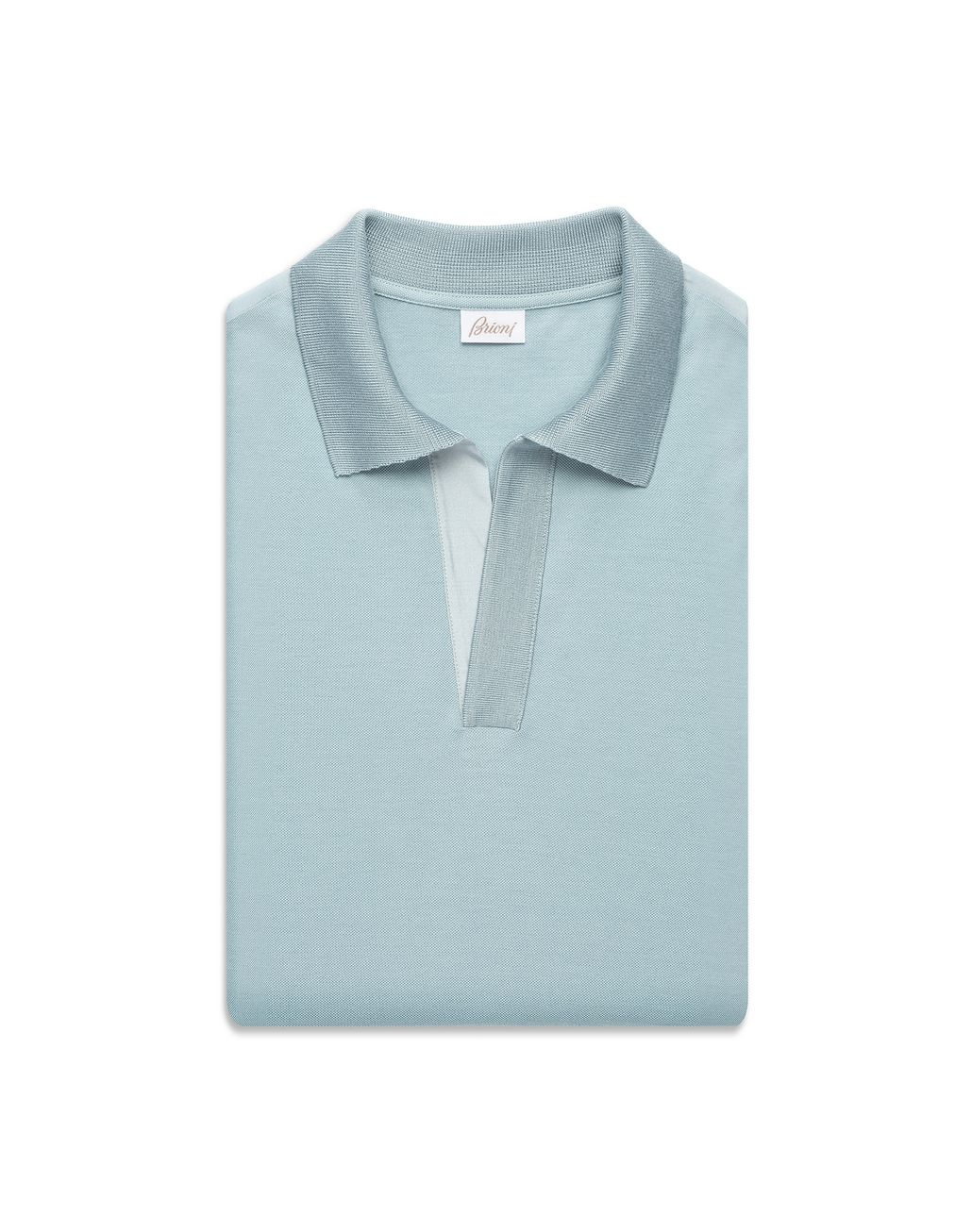 BRIONI Light Blue Buttonless Piquet Polo Shirt T-Shirts & Polos Man e