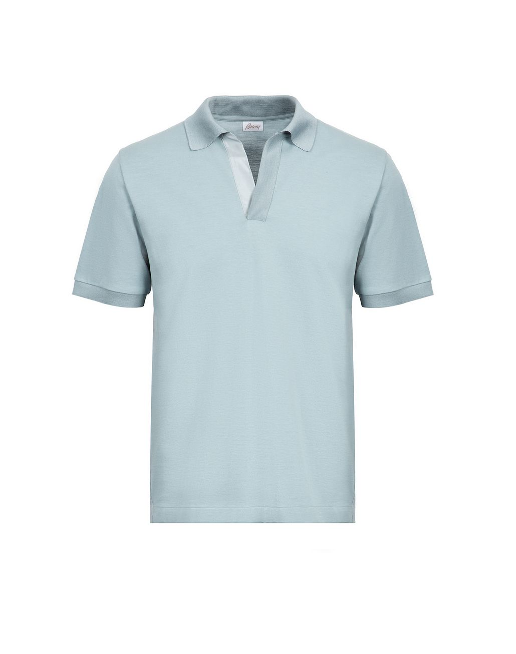 BRIONI Light Blue Buttonless Piquet Polo Shirt T-Shirts & Polos Man f