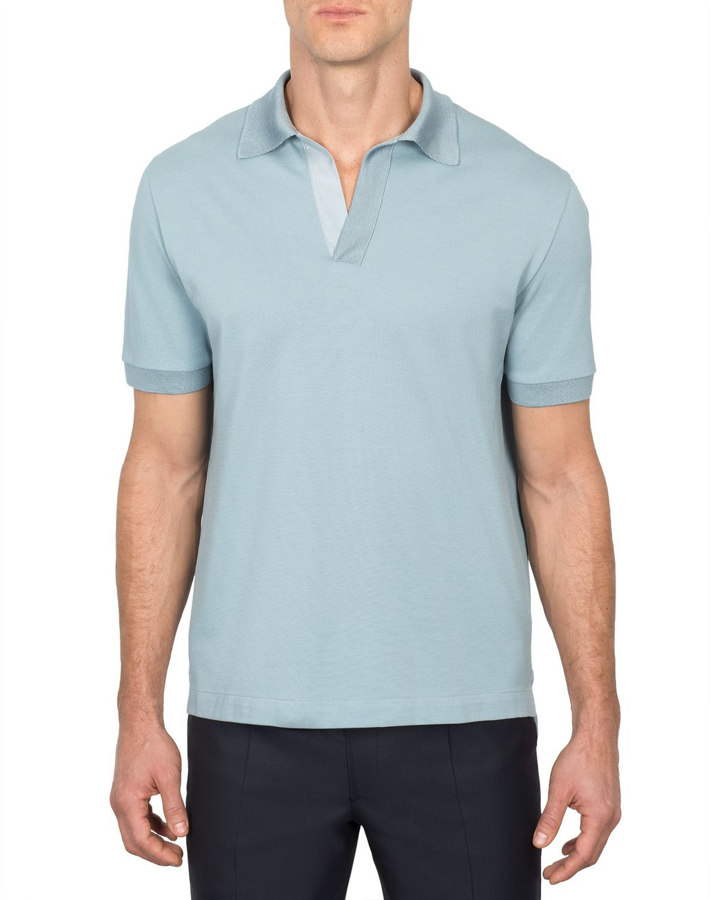 BRIONI Light Blue Buttonless Piquet Polo Shirt T-Shirts & Polos Man r